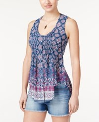 American Rag Printed Pintucked Sleeveless Top Only At Macy's Blue Print Combo