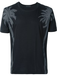 Diesel Black Gold Palm Tree Print T Shirt