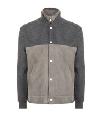Brunello Cucinelli Suede Knitted Yoke Bomber Jacket Male Grey
