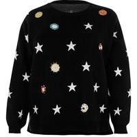 River Island Womens Plus Black Embellished Star Knit Sweater