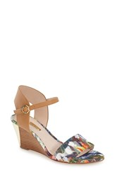 Women's Louise Et Cie 'Kami' Printed Wedge Sandal Blue Floral Leather