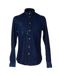 Galliano Denim Denim Shirts Men Blue
