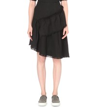 Izzue Raw Edge Tweed Skirt Black