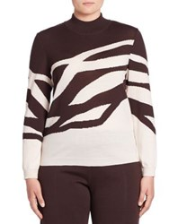 Stizzoli Plus Size Abstract Print Mockneck Sweater Brown Powder