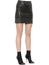 David Koma Studded Wool Crepe Mini Skirt