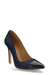 Shoes Of Prey Women's Cap Toe Pump Dark Blue Leather