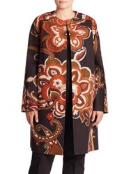 Lafayette 148 New York Makeda Cotton Fille Paisley Print Coat Black Multi