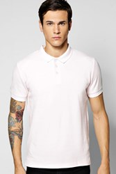 Boohoo Slim Fit Cotton Pique Polo Pale Pink