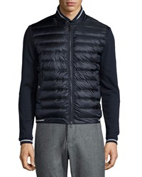 Moncler Quilted Nylon Front Track Jacket Navy