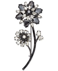 Kate Spade New York Black Tone Jet And Clear Crystal Flower Pin Jet Multi