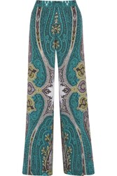 Etro Printed Silk Crepe De Chine Wide Leg Pants Turquoise