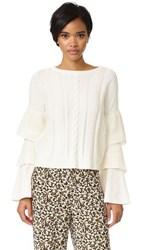 Endless Rose Ruffle Sleeve Sweater White