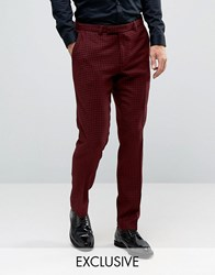 Noose And Monkey Skinny Trousers In Dogtooth Red