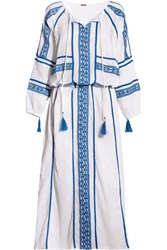 Dodo Bar Or Embroidered Cotton Crepon Maxi Dress Azure