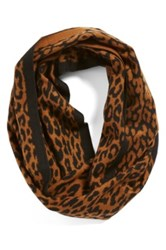 Chelsey Imports Leopard Print Silk Infinity Scarf Brown