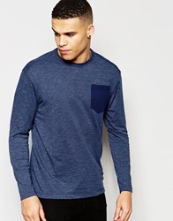 G Star G Star Long Sleeve Top Rinep Fabric Pocket In Dark Blue Blue