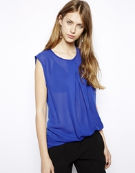 Mango Chiffon Pleat Front Sleeveless Top Blue