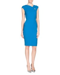 Roland Mouret Barkis Wool Crepe Sheath Dress Azure