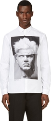 Neil Barrett White Punk Marble Collage Print Shirt