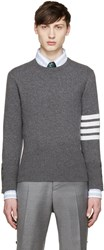 Thom Browne Grey Cashmere Striped Armband Pullover