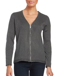 Calvin Klein Zip Up Ribbed Knit Cardigan Heather Charcoal
