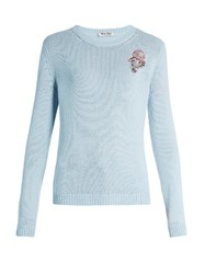 Miu Miu Floral Embellished Cashmere Sweater Light Blue