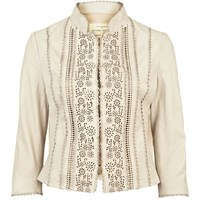 River Island Womens Cream Laser Cut Leather Jacket