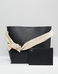 Mango Bow Detail Shoulder Bag Black