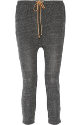 Kain Label Marlo Leather Trimmed Stretch Jersey Tapered Pants Gray