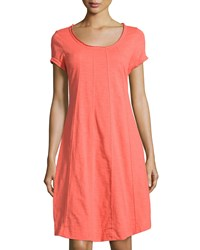 Neon Buddha Lifestyle Short Sleeve Swing Dress Coral