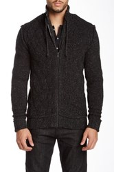 Rogue Chunky Front Zip Wool Blend Cardigan Black