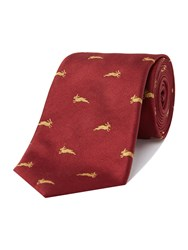 New And Lingwood Madder Hair Jacquard Tie Burgundy