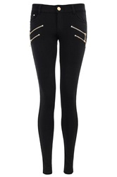 Quiz Zip Diamante Trousers Black