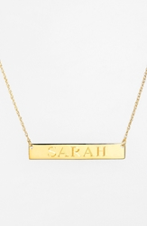 Jane Basch Designs Personalized Bar Pendant Necklace Gold
