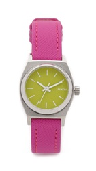 Nixon Small Time Teller Leather Watch Neon Yellow Hot Pink