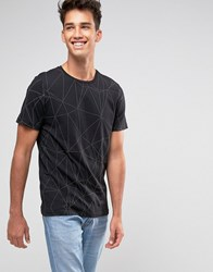 Jack And Jones T Shirt With Tonal Raised All Over Print Black