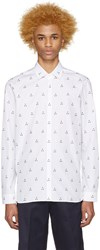 Neil Barrett White Micro Batik Shirt