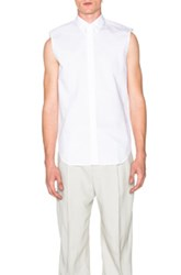 Maison Martin Margiela Maison Margiela Slim Fit Silk Cotton Sleeveless Shirt In White