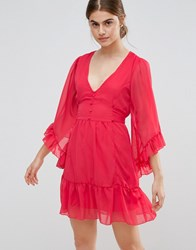 Jasmine Skater Dress With Ruffled Hem And Sleeves Red