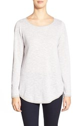 Petite Women's Eileen Fisher Organic Linen And Cotton Ballet Neck Tunic Silver