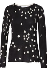 Banjo And Matilda Printed Silk And Cashmere Blend Sweater Black