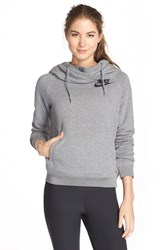 Women's Nike 'Rally' Funnel Neck Hoodie Carbon Heather Cool Grey