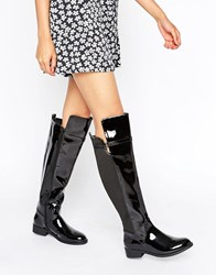 Head Over Heels By Dune Tamara Flat The Knee Boots Black