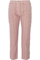 Etro Arawak Frayed High Rise Slim Leg Jeans Antique Rose