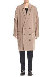 Julien David Double Breasted Wool Coat Beige