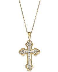 Macy's 14K Gold Necklace Diamond Accent Antique Cross Pendant