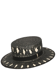 Superduper Lace Effect Panama Straw Boater Hat Black