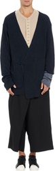 Yohji Yamamoto Pour Homme Dip Dyed Wrap Front Cardigan Blue Size 3 L
