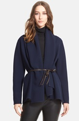 Lanvin Shawl Collar Stretch Woven Jacket With Leather Belt Navy