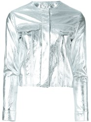 Marques Almeida Cropped Metallic Jacket Grey
